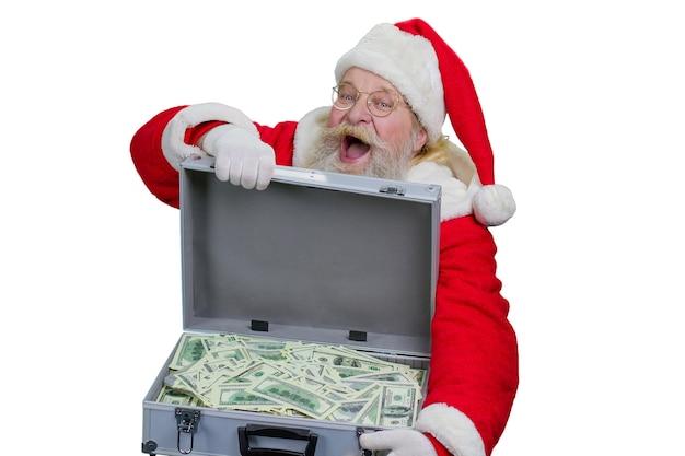 Weihnachtsmann mit einer geldkiste.