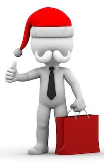 Weihnachtsmann mit einkaufstasche
