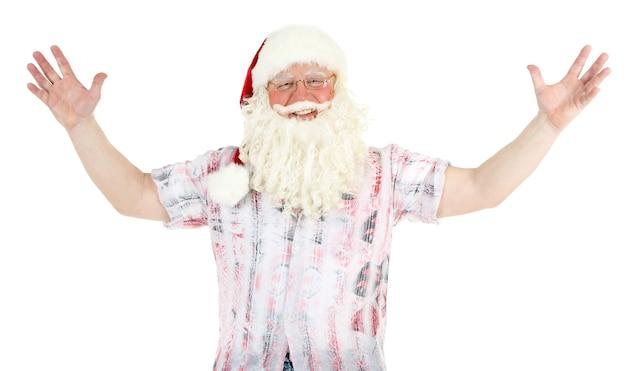 Weihnachtsmann ruht im urlaub, isoliert auf weiß