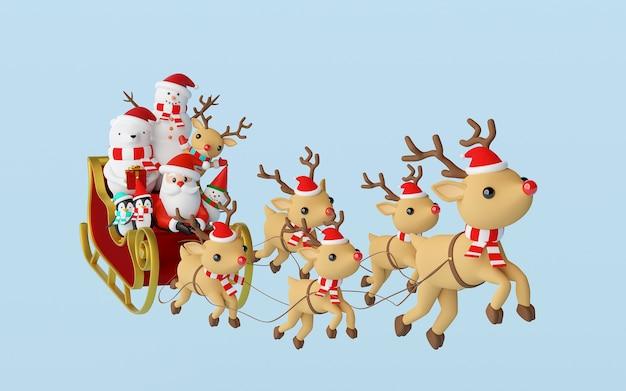 Weihnachtsmann und freund in einem schlitten, der durch rentier-3d-rendering gezogen wird