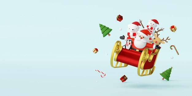 Weihnachtsmann und freund in einem schlitten mit weihnachtsdekoration 3d-rendering