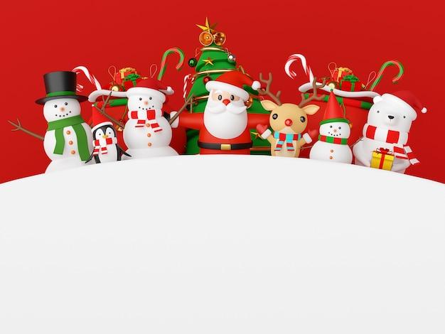 Weihnachtsmann und freunde mit 3d-rendering des kopierraums