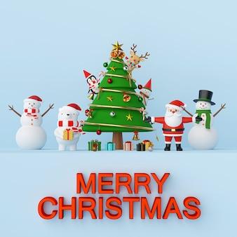 Weihnachtsmann und freunde mit weihnachtsbaum-3d-rendering