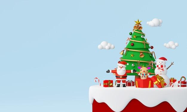 Weihnachtsmann und freunde mit weihnachtsgeschenken