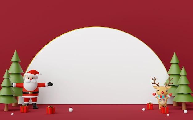 Weihnachtsmann und rentier mit 3d-rendering des kopierraums