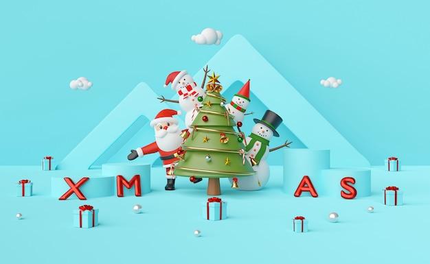 Weihnachtsmann und schneemann am weihnachtsbaum mit podium auf blauem hintergrund, 3d-darstellung