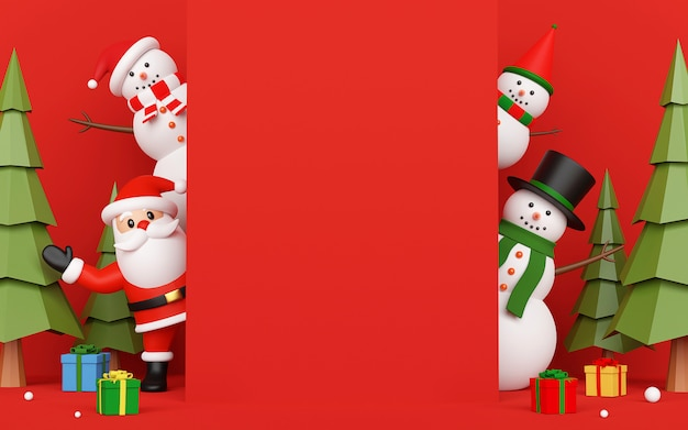 Weihnachtsmann und schneemann auf karteneinladung mit kopienraum in der mitte, 3d-rendering
