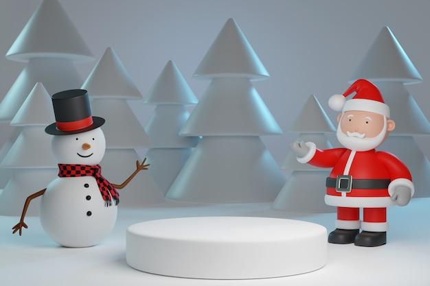 Weihnachtsmann und schneemann mit podium. weihnachtskonzept. 3d-darstellung.