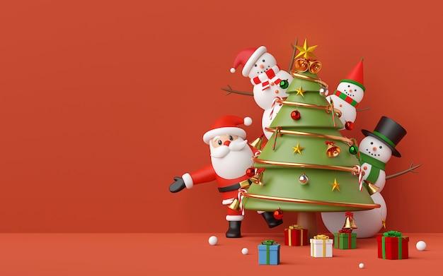Weihnachtsmann und schneemann mit weihnachtsbaum, verzierungen auf rotem hintergrund, 3d-darstellung