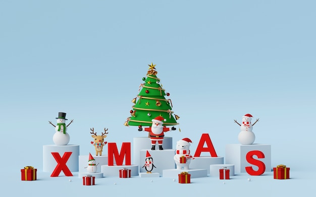 Weihnachtsmann und weihnachtsfigur mit buchstaben xmas 3d rendering