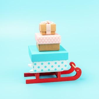 Weihnachtsmannschlitten mit geschenkboxen auf blau