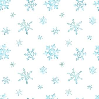 Weihnachtsmuster von hellblauen fallenden schneeflocken. winter hintergrund. aquarell weihnachten illustration.