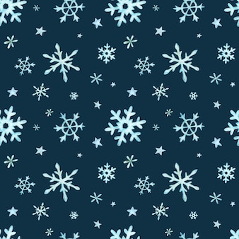 Weihnachtsmuster von hellblauen fallenden schneeflocken