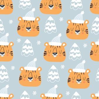 Weihnachtsnahtloses muster mit tigerkopf in hut und baum. netter kindischer hintergrund für feiertage. vektor-illustration