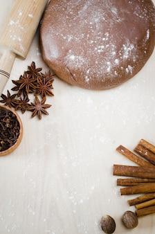 Weihnachtsplätzchen kochen. lebkuchen-teig