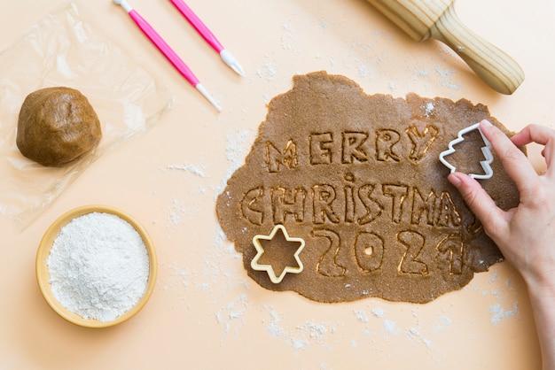 Weihnachtsplätzchen mit den buchstaben frohe weihnachten 2021