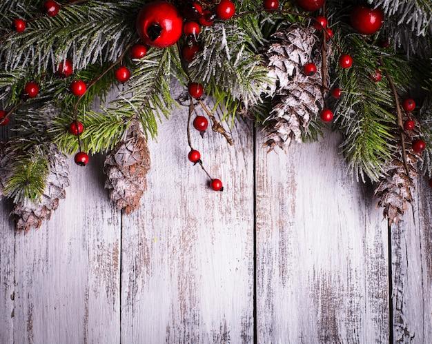 Weihnachtsranddesign mit schneebedeckten tannenzapfen