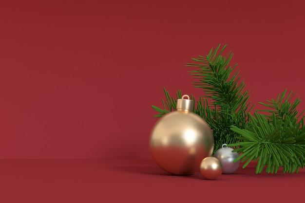 Weihnachtsroter hintergrund 3d, der goldballweihnachtsbaumblatt, linken freien raum des feiertagswinterkonzeptes des weihnachtsneuen jahres überträgt