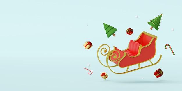 Weihnachtsschlitten mit dekoration 3d rendering