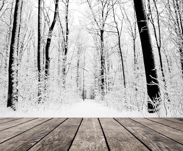 Weihnachtsschnee auf den hölzernen strukturierten hintergründen waldwinterhintergründen