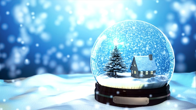 Weihnachtsschneekugel-schneeflocke mit schneefall auf blauem hintergrund