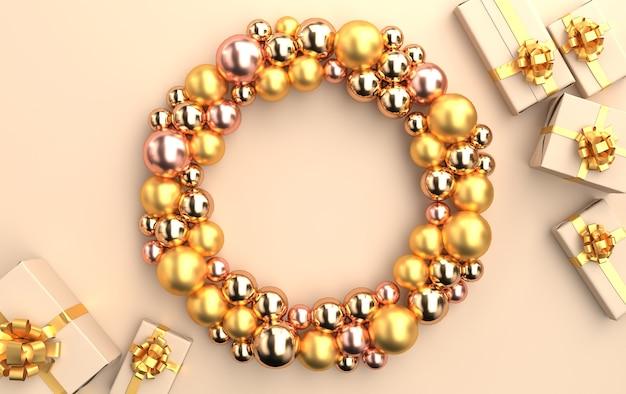 Weihnachtsszene mit geschenken und glänzenden glaskugeln in goldtönen