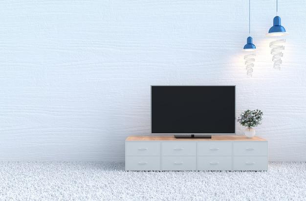 Weihnachtstag und neues jahr. weißer wohnzimmerdekorteppich, weiße rose, fernsehen. 3d ren