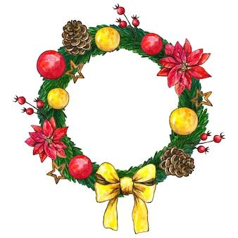 Weihnachtstannenkranz mit dekorationen und kugeln. hand gezeichnete aquarellillustration. isoliert.