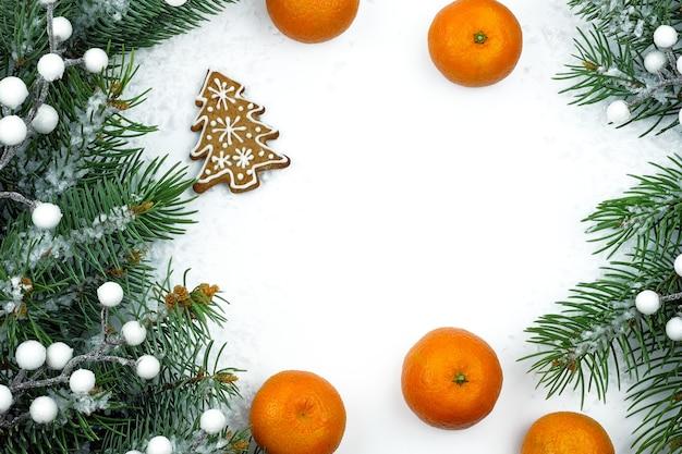 Weihnachtsthema mit mandarinen und tannenzweigen.
