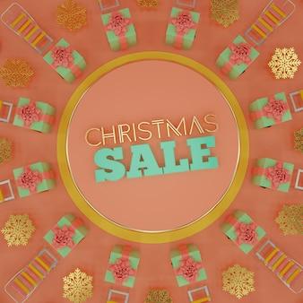 Weihnachtsverkauf kompositionskarte in pastellfarben mit geschenkbox schneeflocken und schlitten