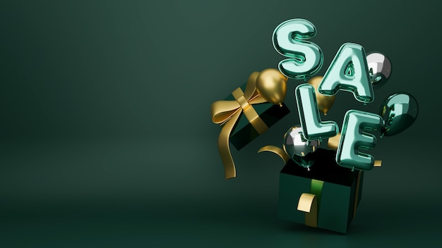 Weihnachtsverkaufsfahnenrabattplakat in grünem luxushintergrund mit geschenkbox und luftballons