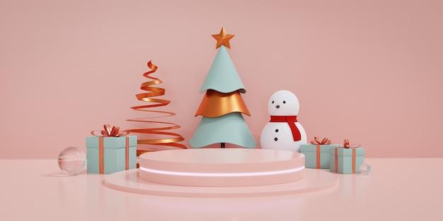 Weihnachtsvitrine mit podium und fluoreszierendem licht, weihnachtsbaum und geschenkbox dekorieren