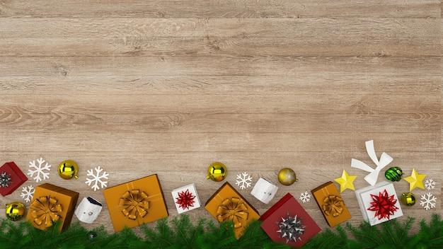 Weihnachtswanddekor hölzerner wandboden-inneninnenhintergrundgeschenkkasten-baumschablone