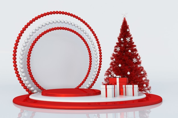 Weihnachtswinter 3d-komposition podium mit weihnachtsbaum und geschenken festliche neujahrsvorlage