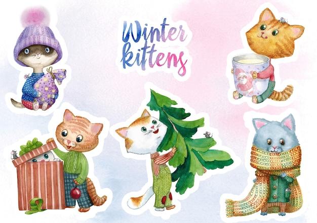 Weihnachtswinterkätzchenaufkleber aquarellillustration