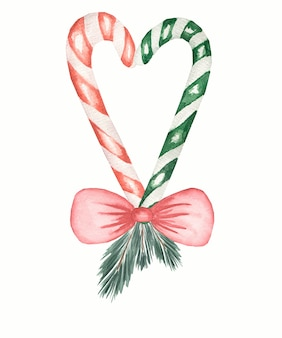 Weihnachtszuckerstange in der roten und grünen farbe mit dem roten bogen und tanne lokalisiert, hand gezeichnete illustration.