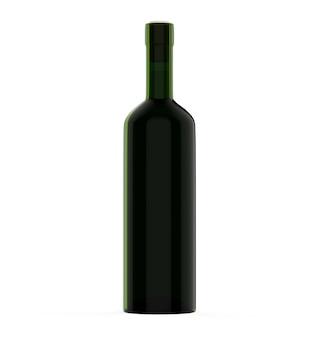 Wein bordo flasche getränk 3d-darstellung grünes glas leere designvorlage