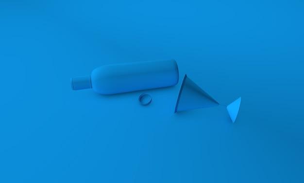 Wein und glas 3d-render auf cyan bg