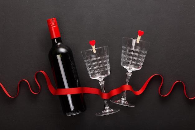 Wein und valentinstag geschenk.