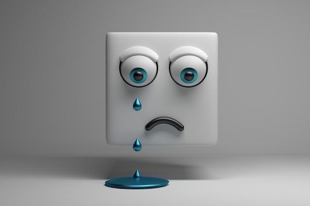 Weinender charakterwürfel mit traurigem gesicht