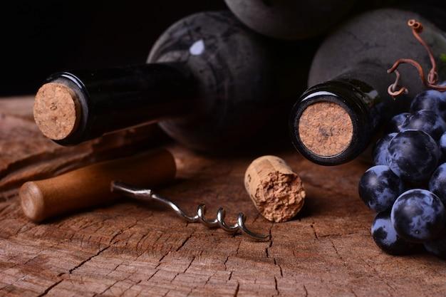 Weinkeller mit flaschen mit staub und trauben