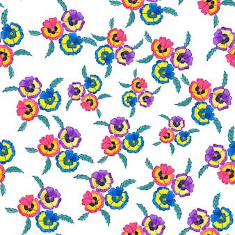Weinlese-aquarellblumenhintergrundmuster. illustration lokalisiert auf weißem hintergrund.