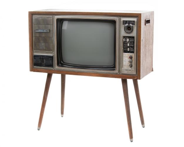 Weinlese fernsehapparat getrennt auf weiß