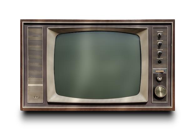 Weinlese fernsehapparat getrennt auf weißem hintergrund