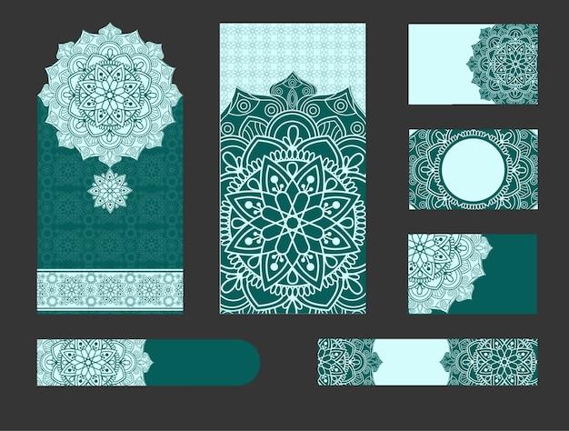 Weinlese-hochzeits-einladungskarte mit mandala-muster