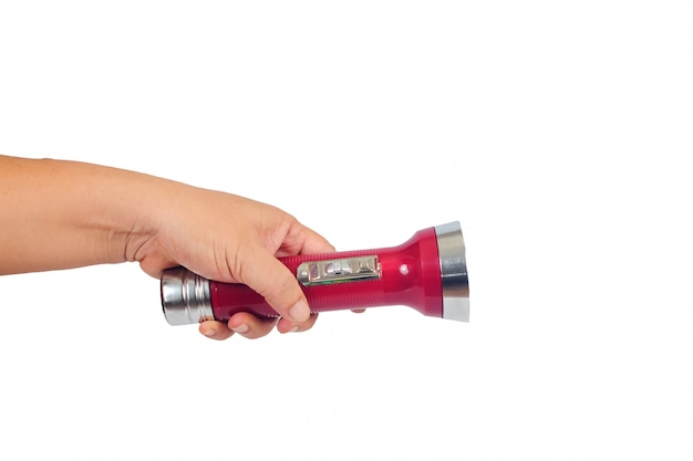 Weinleseblitzlicht oder -lampe in der hand auf weiß.