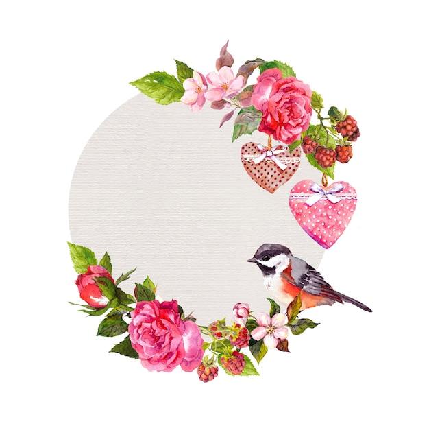 Weinleseblumenkranz für hochzeitskarte, valentinstagdesign. blumen, rosen, beeren, vintage herzen und vogel. runder aquarellrahmen für save date-text