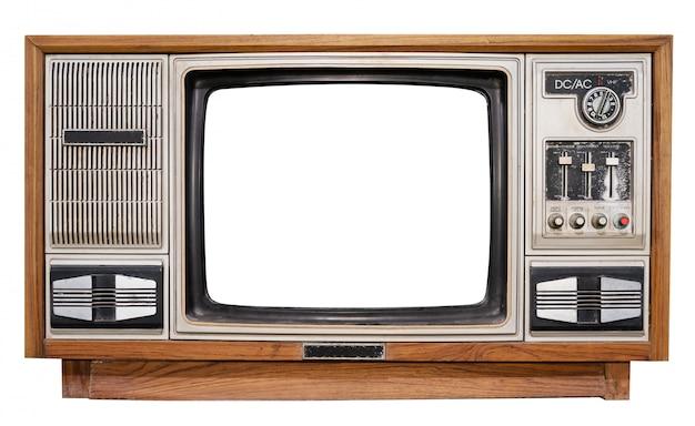 Weinlesefernsehen - antikes holzkistenfernsehen mit herausgeschnittenem rahmenschirm