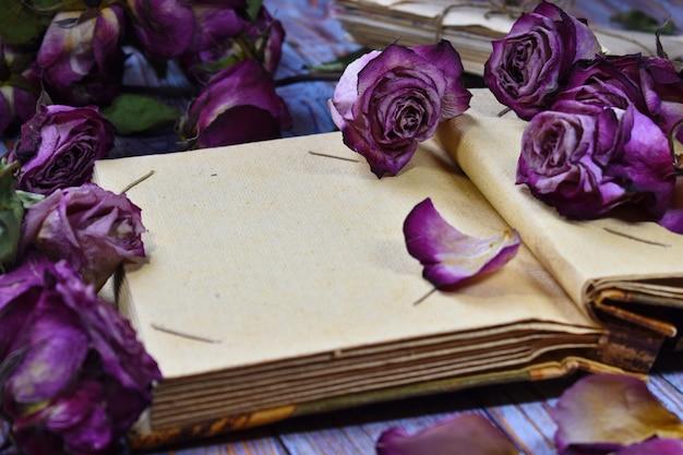 Weinlesefoto mit trockenen blumen und einem album