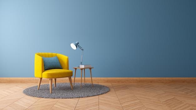 Weinleseinnenraum des wohnzimmers, planhauptdekorkonzept, gelber lehnsessel mit hölzerner tabelle auf blauer wand und holzfußboden, 3d übertragen